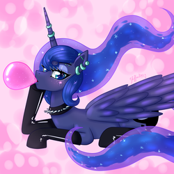 Size: 950x950 | Tagged: alicorn, artist:leffenkitty, bubblegum, choker, clothes, cutie mark, ear piercing, earring, eyeshadow, female, food, gum, horn, horn ring, jewelry, latex, latex socks, lidded eyes, looking at you, lying down, makeup, piercing, princess luna, safe, socks, solo, spiked choker
