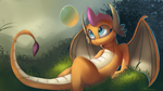 Size: 4000x2250 | Tagged: artist:auroriia, blue eyes, bubble, cute, cute little fangs, dragon, dragoness, fangs, female, grass, looking at something, nature, outdoors, safe, sitting, smolder, smolderbetes, solo, tail, wings