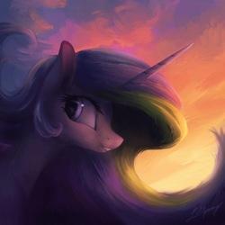 Size: 1000x1000 | Tagged: safe, artist:lollipony, princess celestia, alicorn, pony, backlighting, female, grin, mare, missing accessory, smiling, solo