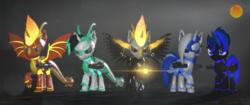 Size: 3840x1620 | Tagged: safe, artist:phoenixtm, oc, oc:archie cloud, oc:delta firedash, oc:jinx ardor, oc:zyra, alicorn, bat pony, bat pony alicorn, dracony, hybrid, pony, robot, robot pony, 3d, alicorn oc, armor, bat pony oc, dracony alicorn, god of fire, group, lens flare, looking at you, minigun, source filmmaker, spread wings, weapon, wings