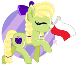 Size: 1720x1444 | Tagged: artist:pokeponyeq, bow, braid, braided tail, earth pony, female, flag, hair bow, mare, mouth hold, oc, oc:apple pattern, offspring, parent:applejack, parents:trenderjack, parent:trenderhoof, poland, pony, safe, simple background, solo, transparent background