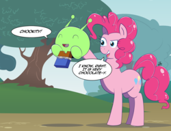 Size: 1500x1150 | Tagged: safe, artist:feralroku, pinkie pie, chocolate bar, crossover, eyes closed, final space, mooncake (final space), smiling, speech bubble
