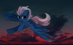 Size: 2449x1494 | Tagged: safe, artist:mirtash, night glider, pony, cheek fluff, chest fluff, cloud, cute, dusk, ear fluff, female, flight trail, flying, glideabetes, mare, rcf community, sky, smiling, solo, spread wings, wings