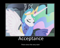 Size: 1075x860 | Tagged: safe, artist:thejboy88, edit, edited screencap, screencap, princess celestia, princess luna, alicorn, pony, friendship is magic, caption, castle of the royal pony sisters, duo, hug, motivational poster, s1 luna