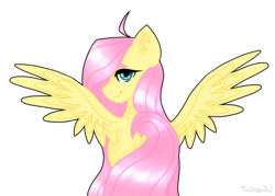 Size: 2446x1749 | Tagged: artist:wingcut, derpibooru exclusive, dock, female, fluttershy, head turn, looking at you, looking back, looking back at you, mare, pegasus, pony, profile, rear view, safe, simple background, solo, spread wings, transparent background, wings