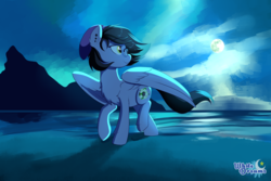 Size: 4000x2666 | Tagged: artist:xwhitedreamsx, beach, beanie, chest fluff, ear fluff, ear piercing, earring, female, full moon, glasses, hat, jewelry, looking back, moon, night, oc, ocean, oc:nightshade (pegasus), oc only, pegasus, piercing, pony, raised hoof, safe, sand, scenery, solo