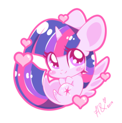 Size: 800x808 | Tagged: alicorn, artist:hungrysohma16, blushing, chibi, cute, female, heart, mare, pony, safe, simple background, smiling, solo, twiabetes, twilight sparkle, twilight sparkle (alicorn), white background