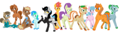 Size: 13858x3754 | Tagged: artist:paskanaakka, colored hooves, colt, commission, cool crow, derpibooru exclusive, dracony, ear fluff, earth pony, female, hybrid, love and tolerate, male, mare, mods, oc, oc:artabana, oc:ciaran, oc:cold front, oc:cyan lightning, oc:dawnsong, oc:firebrand, oc:lightning dee, oc only, oc:paige turner, oc:puppy love, oc:sign, oc:sky spark, pegasus, pony, safe, simple background, stallion, transparent background, unicorn, unshorn fetlocks