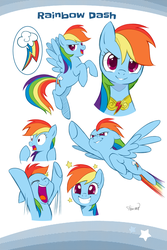 Size: 2107x3160 | Tagged: safe, artist:nekoshiei, color edit, edit, seven seas, rainbow dash, pegasus, pony, my little pony: the manga, spoiler:manga, spoiler:manga1, backwards cutie mark, colored, cute, dashabetes, high res, smiling, wings