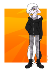 Size: 1800x2513 | Tagged: anthro, artist:spoopygander, bag, cigarette, clothes, earth pony, eyeshadow, female, hoodie, jewelry, makeup, mare, oc, oc:rubber bunny, piercing, safe, solo
