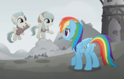 Size: 960x612 | Tagged: safe, screencap, barley barrel, pickle barrel, rainbow dash, pegasus, pony, rainbow roadtrip, barrel twins, butt, clothes, desaturated, female, filly, flying, foal, hope hollow, male, mare, plot, siblings, sweater, twins