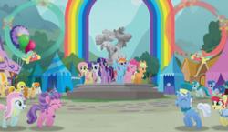 Size: 960x556 | Tagged: safe, screencap, applejack, barley barrel, fluttershy, kerfuffle, petunia petals, pickle barrel, pinkie pie, rainbow dash, rarity, sunny skies, torque wrench, twilight sparkle, alicorn, earth pony, pegasus, pony, unicorn, rainbow roadtrip, spoiler:book, amputee, background pony, barrel twins, blue pony, dot cutie mark, female, green pony, hat, hope hollow, male, mane six, mare, orange pony, prosthetic leg, prosthetic limb, prosthetics, repair pony, siblings, stallion, statue, top hat, twilight sparkle (alicorn), twins, unnamed pony, yellow pony