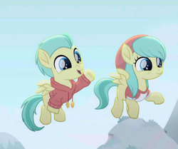 Size: 450x377 | Tagged: safe, edit, edited screencap, screencap, barley barrel, pickle barrel, pegasus, pony, rainbow roadtrip, barrel twins, beanie, clothes, colt, cropped, female, filly, hat, hoodie, male, shirt, siblings, twins