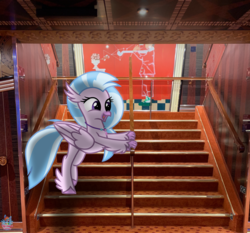 Size: 1536x1429 | Tagged: artist:rainbow eevee, cruise, cruise ship, cute, daaaaaaaaaaaw, diastreamies, female, irl, photo, ponies in real life, pony, safe, silverstream, solo, stairs, that hippogriff sure does love stairs, wat
