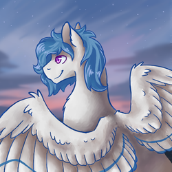 Size: 540x540 | Tagged: artist:flaming-trash-can, hippogriff, male, oc, oc:delta dart, oc only, safe, solo, sunset