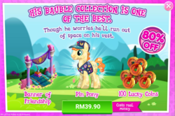 Size: 1040x689 | Tagged: advertisement, banner, costs real money, crystal pony, earth pony, fair trade, gameloft, lucky coin, male, official, pony, rhyme, safe, sale, stallion