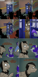 Size: 1502x3006   Tagged: safe, artist:jitterbugjive, doctor whooves, time turner, oc, oc:pun, oc:westwood, bat pony, earth pony, pegasus, pony, ask pun, agent 707, armor, ask, discord whooves, doctor who, female, mare, night guard, night guard armor, race swap, spear, tardis, weapon