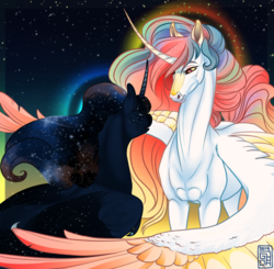 Size: 889x871 | Tagged: alicorn, artist:catlovergirl, artist:rubenite, coat markings, colored wings, cropped, curved horn, duo, edit, ethereal mane, female, freckles, galaxy mane, halo, hoers, horn, long horn, looking at each other, mare, missing accessory, pony, princess celestia, princess luna, realistic anatomy, redraw, royal sisters, safe, siblings, sisters, space, spread wings, star freckles, starry wings, stars, wings