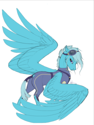 Size: 768x1024 | Tagged: alternate timeline, artist:catlovergirl, artist:rubenite, clothes, crystal war timeline, dock, female, floppy ears, goggles, large wings, lidded eyes, looking at you, mare, oc, oc:angel, oc only, one wing out, pegasus, pony, safe, scar, simple background, solo, tail wrap, uniform, white background, wings