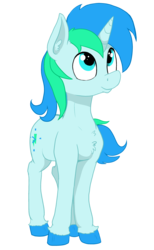 Size: 2082x3377 | Tagged: artist:paskanaakka, chest fluff, colored hooves, colt, commission, digital art, happy, horn, male, oc, oc:cyan lightning, oc only, part of a set, pony, safe, simple background, smiling, solo, standing, transparent background, unicorn