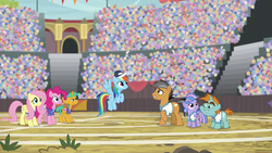 Size: 1280x720 | Tagged: safe, screencap, fluttershy, pinkie pie, quibble pants, rainbow dash, snails, snips, wind sprint, earth pony, pegasus, pony, unicorn, common ground, colt, male
