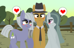 Size: 3910x2550 | Tagged: safe, artist:takaneko13, igneous rock pie, limestone pie, marble pie, earth pony, pony, blushing, clothes, cute, father and daughter, female, hat, heart, heart eyes, hooves, imminent incest, implied incest, incest, like father like daughter, lineless, male, mare, necktie, pictogram, pie sisters, piecest, rock farm, siblings, sisters, stallion, tree, wingding eyes