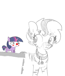 Size: 1440x1681 | Tagged: artist:tjpones, blushing, blush sticker, chubbie, clown, colored, color edit, duo, ear piercing, edit, face paint, female, grayscale, mare, monochrome, oc, pencil drawing, piercing, pony, red nose, safe, simple background, smol, tiny, tiny ponies, traditional art, twiggie, twilight sparkle, unicorn, unicorn twilight, zebra, zebra oc