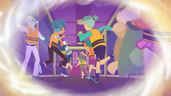 Size: 1920x1080 | Tagged: safe, screencap, desert sage, doodle bug, guy grove, ink jet, orange sunrise, sandalwood, water lily (equestria girls), equestria girls, equestria girls series, spring breakdown, spoiler:eqg series (season 2), background human, clothes, female, flashback, hallway, legs, lifejacket, male, offscreen character, pants, running, sandals, shoes, shorts, sneakers