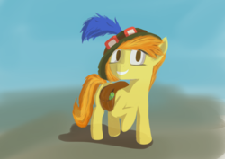 Size: 3157x2232 | Tagged: safe, artist:simplesample, spitfire, pegasus, pony, backpack, female, goggles, hat, high res, league of legends, mare, painting, simple background, smiling, solo, teemo