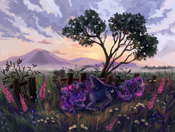 Size: 1600x1200 | Tagged: alicorn, artist:weird--fish, fence, missing accessory, mountain, pony, princess luna, safe, scenery, sleeping, solo, tree, unshorn fetlocks