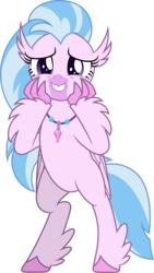 Size: 3000x5303 | Tagged: artist:dashiesparkle, bipedal, classical hippogriff, cute, diastreamies, high res, hippogriff, safe, silverstream, simple background, solo, spoiler:s09e03, transparent background, uprooted, vector