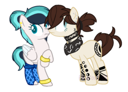 Size: 946x680 | Tagged: artist:firefox238, artist:lullabyprince, bandana, base used, boop, bracelet, clothes, ear piercing, earring, earth pony, female, jewelry, mare, noseboop, oc, oc:blueberry rain, oc only, oc:tatiana (ice1517), oc x oc, pegasus, piercing, pony, ponytail, raised hoof, safe, scrunchy face, shipping, simple background, socks, tattoo, transparent background