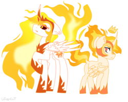 Size: 2500x2000 | Tagged: alicorn, armor, artist:wingcut, clothes, crown, curved horn, daybreaker, derpibooru exclusive, dock, female, fire, frown, horn, jewelry, looking at someone, looking back, mane of fire, mare, pony, rapidash twilight, regalia, safe, shoes, simple background, transparent background, twilight sparkle, twilight sparkle (alicorn), wings