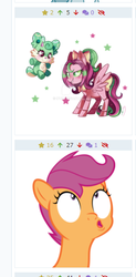 Size: 289x587 | Tagged: artist:ipun, artist:phucknuckl, bust, derpibooru, deviantart watermark, emotes, faic, female, filly, juxtaposition, mare, meta, obtrusive watermark, oc, oc:gadget, oc:precious metal, pegasus, pony, portrait, reaction image, safe, scootaloo, simple background, solo, spoiler:s09e12, the last crusade, transparent background, vector, watermark
