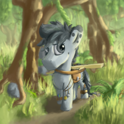 Size: 1600x1600 | Tagged: artist:geljado, colored, digital art, digital painting, earth pony, jungle, male, oc, oc:broken symmetry, oc only, pony, safe, solo