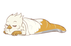 Size: 1234x797 | Tagged: artist:raspberryusagi, blushing, clothes, griffon, oc, oc:der, oc only, safe, simple background, sleeping, sleeping bag, sock, socks, transparent background