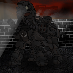 Size: 2000x2000 | Tagged: armor, artist:devorierdeos, earth pony, fallout equestria, fanfic, fanfic art, gun, hooves, ministry of wartime technology, oc, oc only, pony, power armor, rocket launcher, safe, solo, steel ranger, weapon
