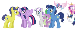Size: 2311x894 | Tagged: alicorn, artist:3d4d, cometlight, comet tail, female, male, night light, pony, princess cadance, princess flurry heart, safe, shining armor, shipping, spike, straight, twilight sparkle, twilight sparkle (alicorn), twilight velvet