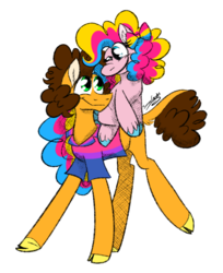 Size: 977x1200 | Tagged: artist:summer-cascades, bisexual, bisexual pride flag, bow, cheesepie, cheese sandwich, clothes, earth pony, female, hair bow, hooves, male, mare, pansexual, pansexual pride flag, pinkie pie, pony, pride, pride month, safe, shipping, shirt, stallion, straight