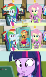 Size: 612x1024 | Tagged: aqua blossom, dog, drama letter, edit, edited screencap, equestria girls, equestria girls series, fluttershy, forgotten friendship, implied lesbian, implied shipping, implied sunsetsparkle, lip bite, meme, phone, rainbow dash, rainbow dash phone meme, rainbow dash's phone, rainbow rocks, safe, screencap, spike, spike's dog collar, spike the dog, sunset selfie, sunset shimmer, twilight sparkle, watermelody