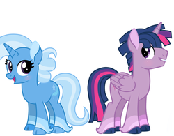 Size: 1013x789 | Tagged: safe, artist:missxxfofa123, trixie, twilight sparkle, alicorn, pony, dusk shine, female, half r63 shipping, male, rule 63, shipping, straight, trixshine, twilight sparkle (alicorn)
