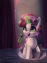 Size: 3000x4000 | Tagged: safe, artist:vanillaghosties, sweetie belle, pony, unicorn, atg 2019, cute, cutie mark, diasweetes, female, filly, glowing horn, happy, horn, magic, microphone, newbie artist training grounds, open mouth, raised hoof, solo, stage, sweetie belle's magic brings a great big smile, telekinesis, the cmc's cutie marks