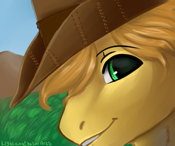 Size: 1200x1000 | Tagged: appleloosa, artist:lightningchaser13, artist:lightningchaserarts, beautiful, beautiful eyes, braeburn, earth pony, green eyes, icon, painting, paint tool sai, pony, safe, vent art, yellow hair, yellow pony