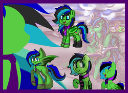 Size: 1195x864 | Tagged: artist:torpy-ponius, bat pony, bat pony oc, bat wings, blue hair, bracelet, compilation, ear, eye, eyes, face, green pony, hair, jewelry, legs, mane, metal, nose, oc, oc:torpy, pony, pony town, pony town porn, purple tie, reference, reference sheet, safe, skateboard, tail, wings