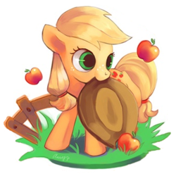 Size: 340x340 | Tagged: apple, applejack, applejack's hat, artist:amy30535, cowboy hat, cute, cutie mark, earth pony, edit, female, fence, filly, filly applejack, food, freckles, grass, hat, jackabetes, mouth hold, obligatory apple, pony, safe, simple background, solo, weapons-grade cute, white background, younger