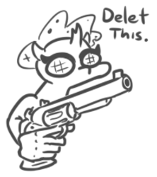 Size: 396x445 | Tagged: artist:jargon scott, black and white, delet this, grayscale, gun, handgun, monochrome, ocellus, revolver, safe, solo, suddenly hands