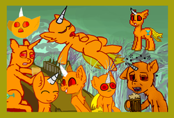 Size: 1100x750 | Tagged: alcohol, artist:torpy-ponius, bar, beer, compilation, oc, oc:drunknugly, oc:drunk n ugly, orange pony, pony, pony town, ponytownslobs, red eyes, reference, reference sheet, safe, tail, ugly, unicorn, unicorn oc, wtf, yellow tail