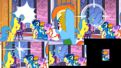 Size: 1920x1080 | Tagged: bipedal, bipedal leaning, blinking, camera, charm, clothes, dress, edit, edited screencap, eyes closed, gala dress, leaning, lemon hearts, lidded eyes, masquerade, mid-blink screencap, north star, pony, rainbow dash, safe, screencap, soarin', spitfire, the best night ever, uniform, wonderbolts uniform