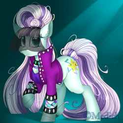 Size: 2796x2781 | Tagged: abstract background, artist:mediasmile666, cheek fluff, choker, clothes, coloratura, countess coloratura, crepuscular rays, cutie mark, earth pony, female, frown, looking at you, mare, pony, raised hoof, safe, sidemouth, solo, starry eyes, veil, wingding eyes