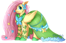 Size: 2897x1915 | Tagged: artist:mediasmile666, cheek fluff, chest fluff, clothes, cute, dress, ear fluff, eye clipping through hair, female, floppy ears, flower, flower in hair, fluttershy, gala dress, hair over one eye, long mane, looking at you, mare, pegasus, pony, safe, shyabetes, simple background, smiling, solo, speedpaint available, starry eyes, transparent background, wingding eyes
